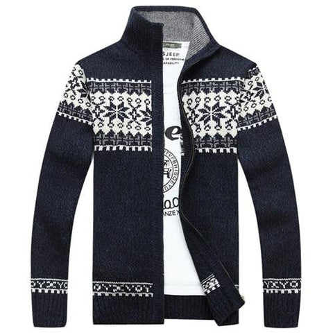 Men's Zip Up Snowflake Print Christmas Sweater Sweater Marks'Marketplace Blue M