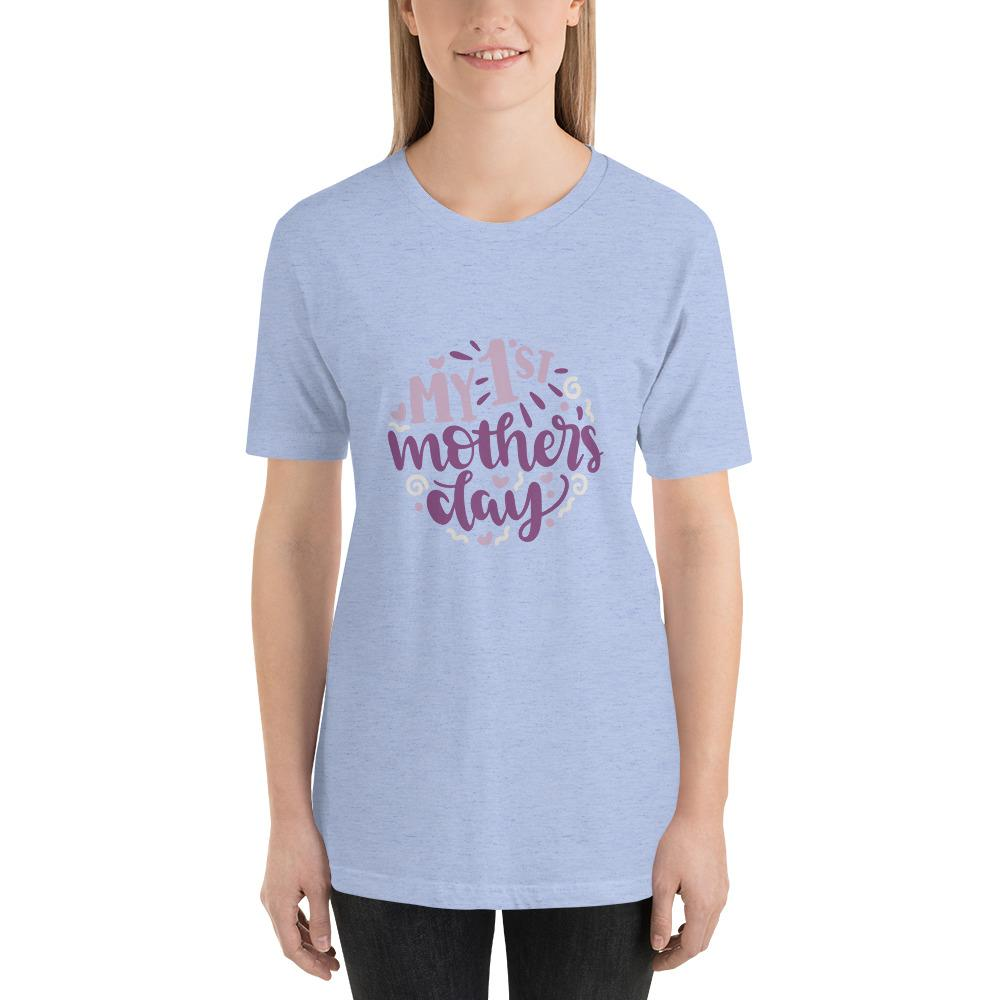 My 1st mothers day Women Short-Sleeve T-Shirt Marks'Marketplace Heather Blue S