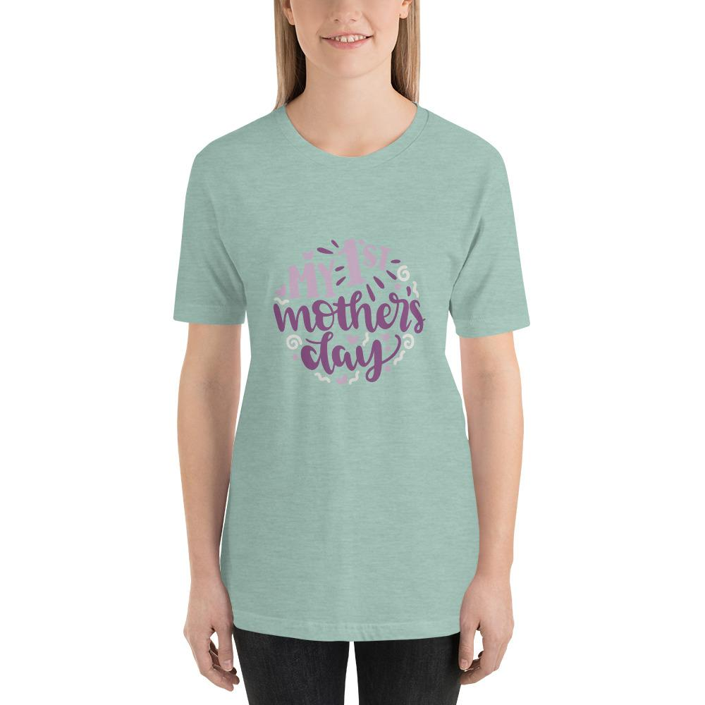 My 1st mothers day Women Short-Sleeve T-Shirt Marks'Marketplace Heather Prism Dusty Blue XS
