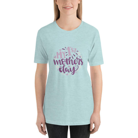 Image of My 1st mothers day Women Short-Sleeve T-Shirt Marks'Marketplace Heather Prism Ice Blue XS