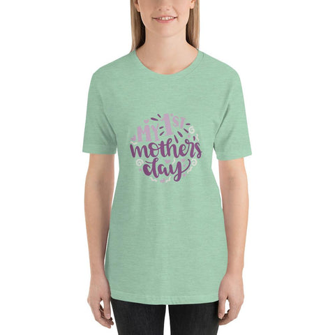 Image of My 1st mothers day Women Short-Sleeve T-Shirt Marks'Marketplace Heather Prism Mint XS