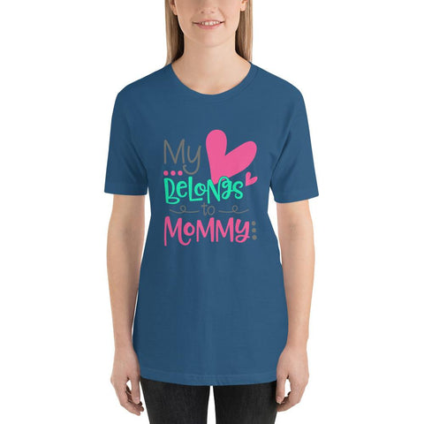 Image of My Heart Belongs To Mummy Short-Sleeve T-Shirt Marks'Marketplace Steel Blue S