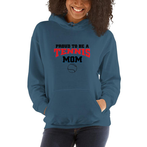 Image of Proud to be a tennis mom Women Hooded Sweatshirt Marks'Marketplace Indigo Blue S