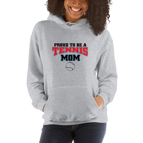 Image of Proud to be a tennis mom Women Hooded Sweatshirt Marks'Marketplace Sport Grey S