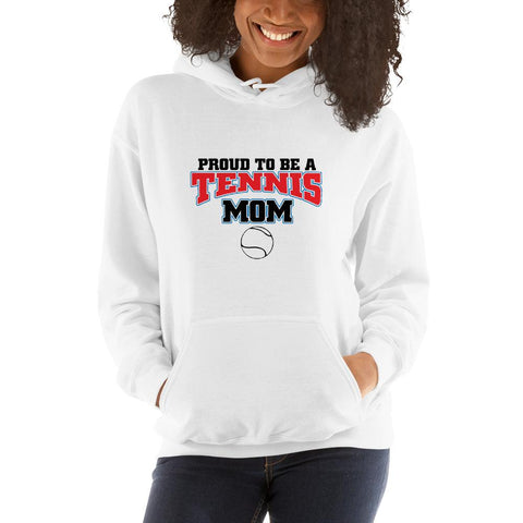 Image of Proud to be a tennis mom Women Hooded Sweatshirt Marks'Marketplace White S