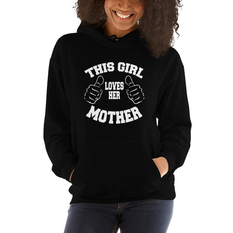 Image of This girl loves her mother Women Hooded Sweatshirt Marks'Marketplace Black S