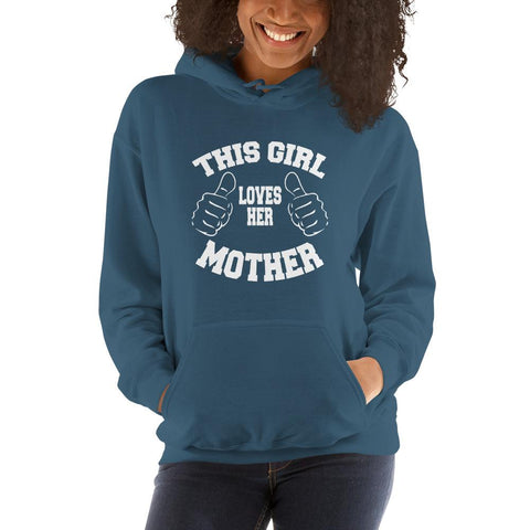 Image of This girl loves her mother Women Hooded Sweatshirt Marks'Marketplace Indigo Blue S