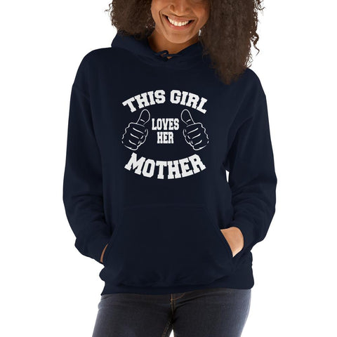 Image of This girl loves her mother Women Hooded Sweatshirt Marks'Marketplace Navy S