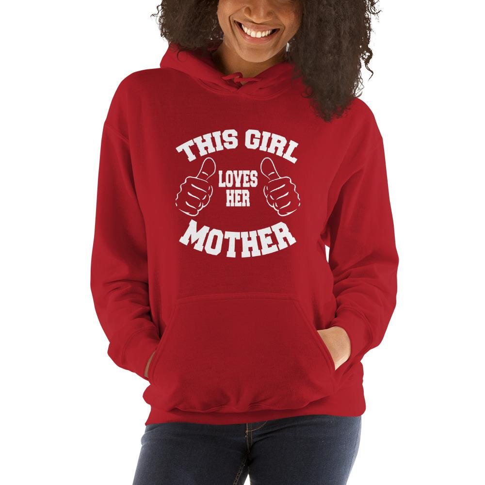 This girl loves her mother Women Hooded Sweatshirt Marks'Marketplace Red S
