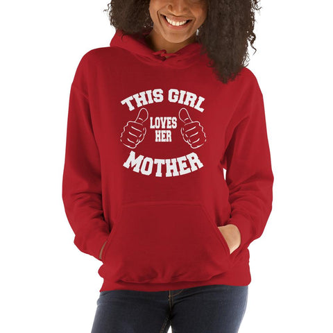 Image of This girl loves her mother Women Hooded Sweatshirt Marks'Marketplace Red S