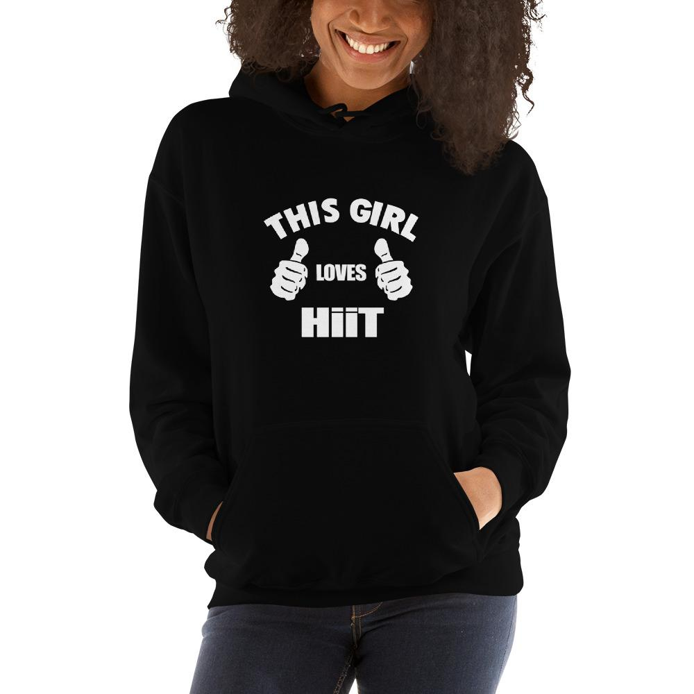 This girl loves hit Women Hooded Sweatshirt Marks'Marketplace Black S