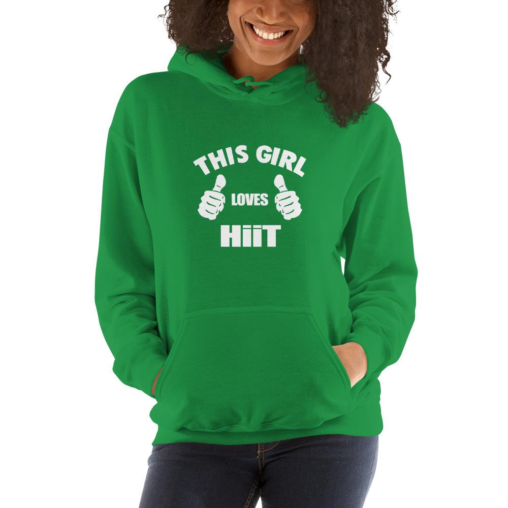 This girl loves hit Women Hooded Sweatshirt Marks'Marketplace Irish Green S