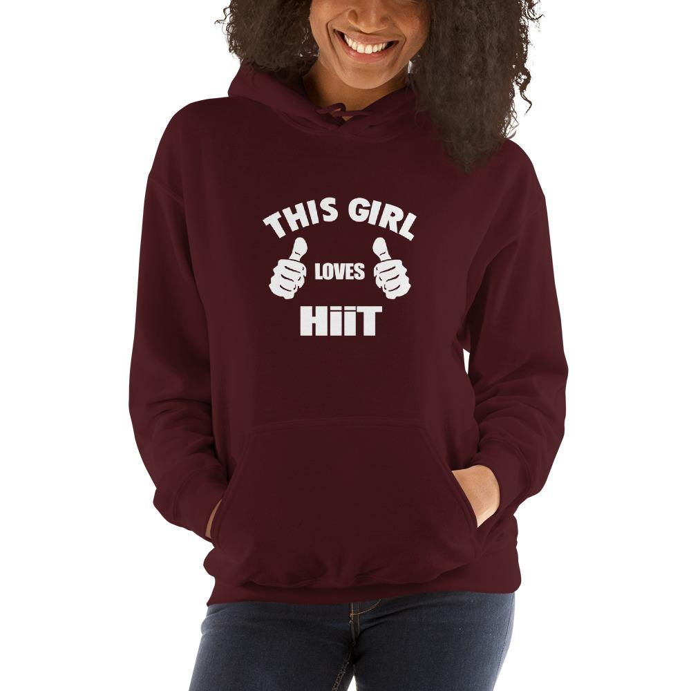 This girl loves hit Women Hooded Sweatshirt Marks'Marketplace Maroon S