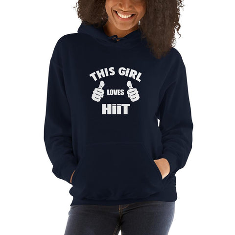 Image of This girl loves hit Women Hooded Sweatshirt Marks'Marketplace Navy S