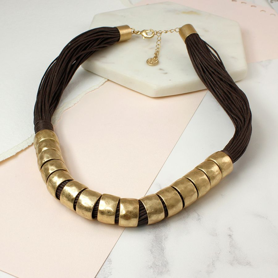 Chunky gold and brown statement necklace