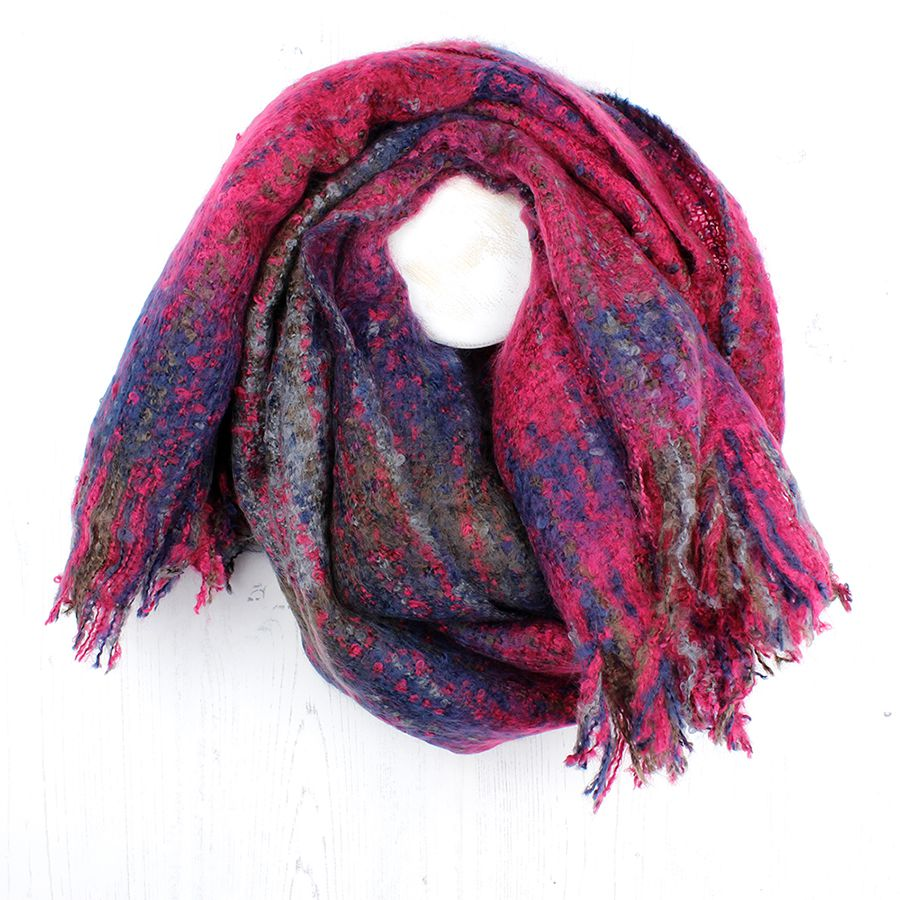 Vibrant pink mix check knit scarf
