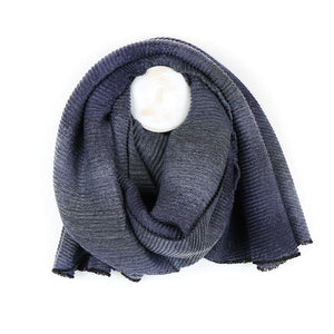 Grey ombre effect pleated scarf