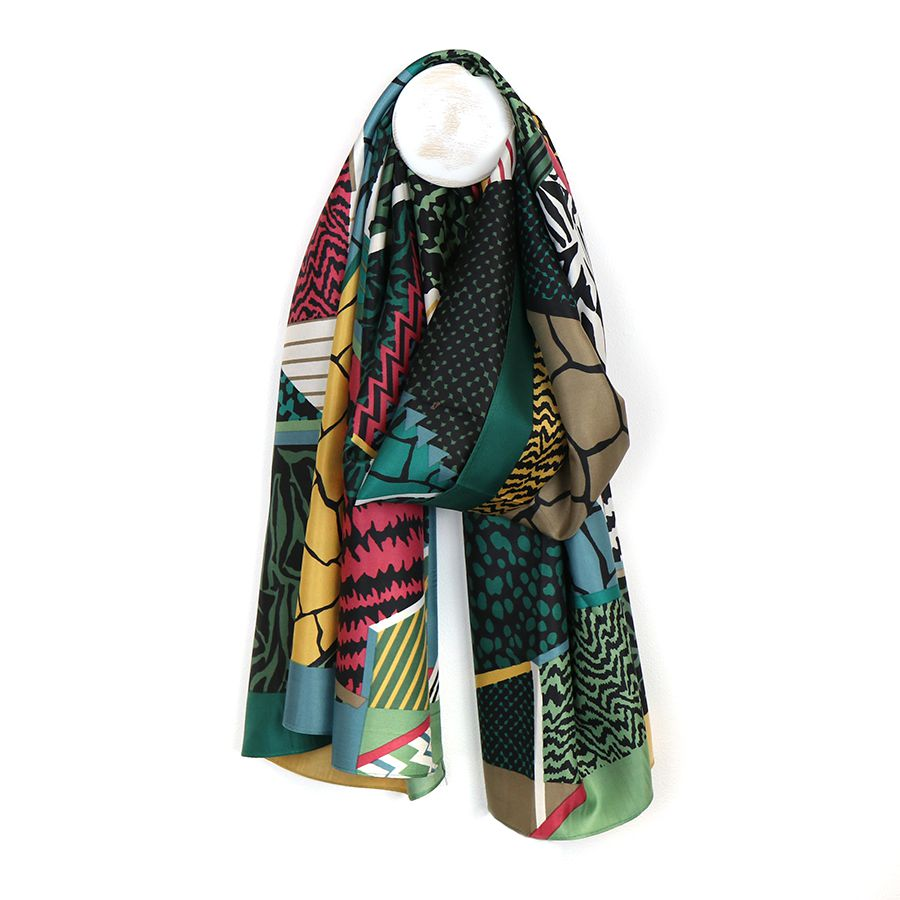 green mix silky scarf