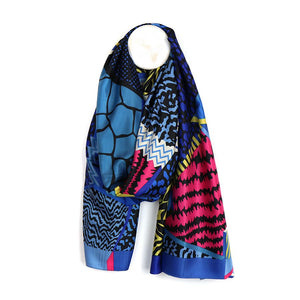 Blue mix silky scarf