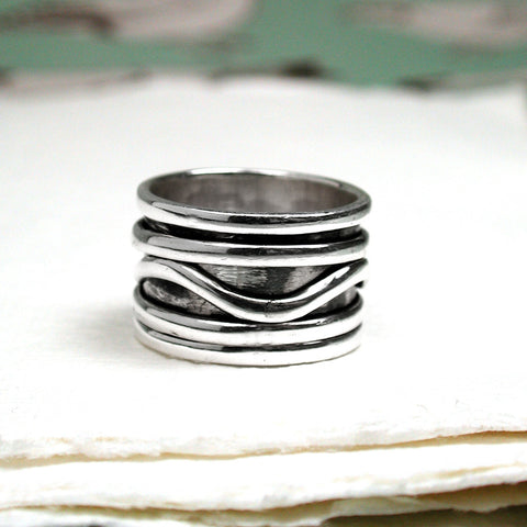 Silver Wave Spinning Ring