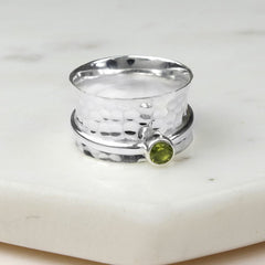 August Birthstone Spinning Ring Peridot