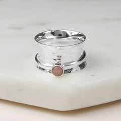 October Birthstone Spinning Ring Pink Opal