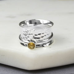 November Birthstone Spinning Ring Citrine