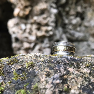 Gold and silver Hammered Spinning Ring