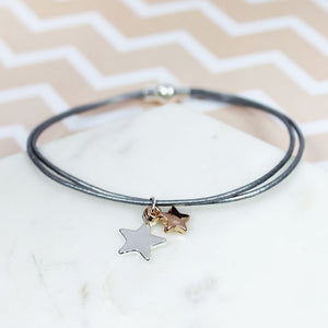 Grey leather rose gold star bracelet