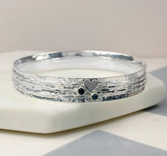 Silver heart gemstone bangle