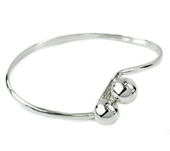 Silver double ball bangle