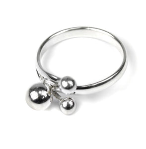 Triple ball silver ring