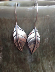 Sterling silver Delen leaf earrings