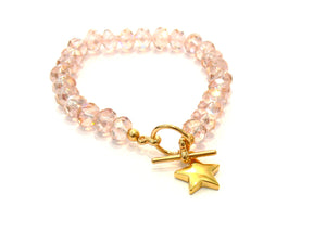 Cut glass star bracelet