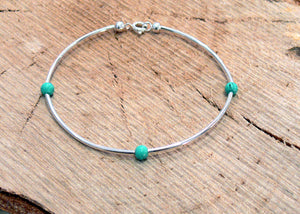 Turquoise silver plated stacker bracelet