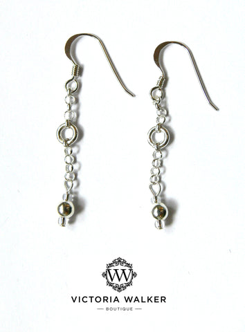 Silver chain drop earrings