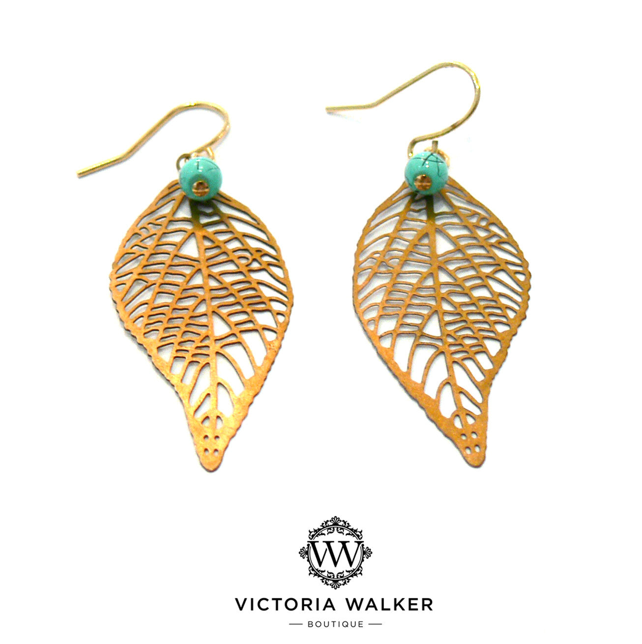 Gold Turquoise Leaf Earrings