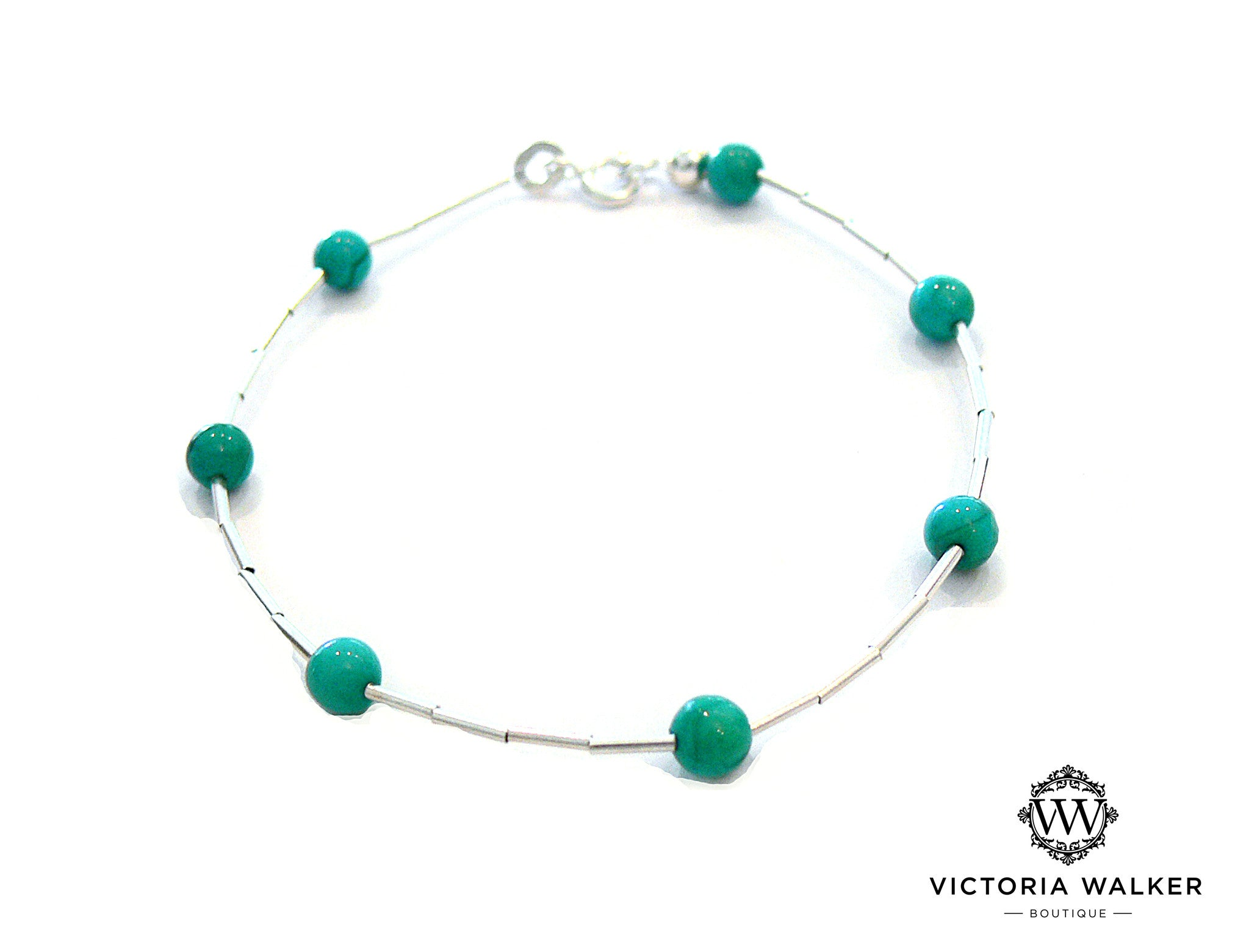 Turquoise Silver Bead Bracelet