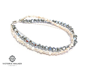 Crystals and Pearls Strands Bracelet
