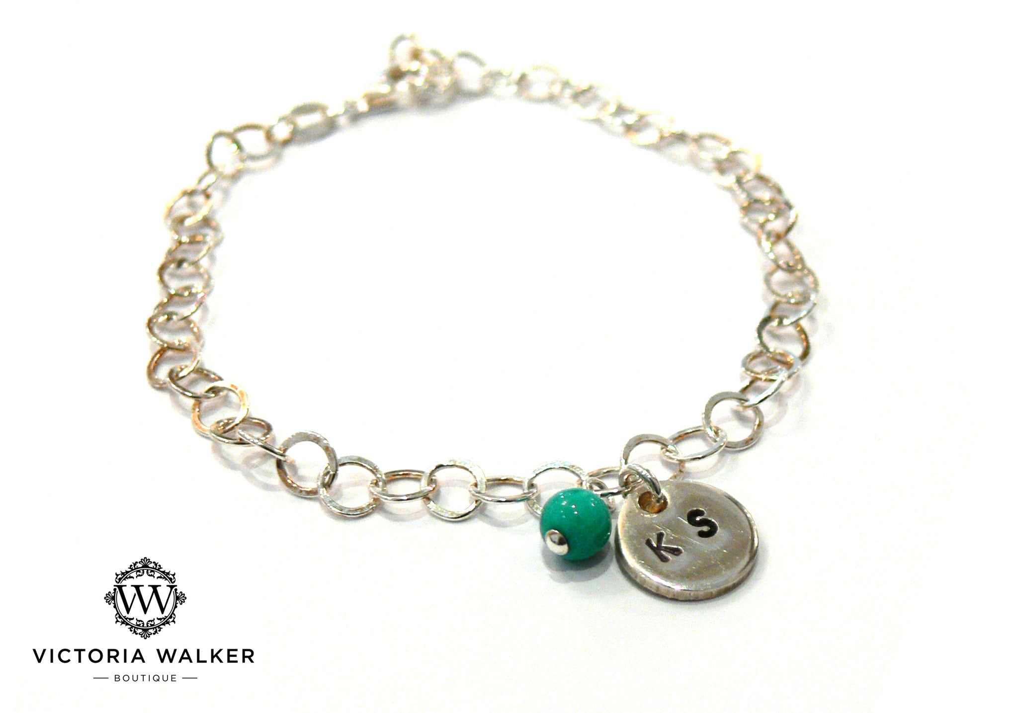 Silver Turquoise Engraved Bracelet