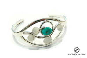 Turquoise and Moonstone Swirl Bangle