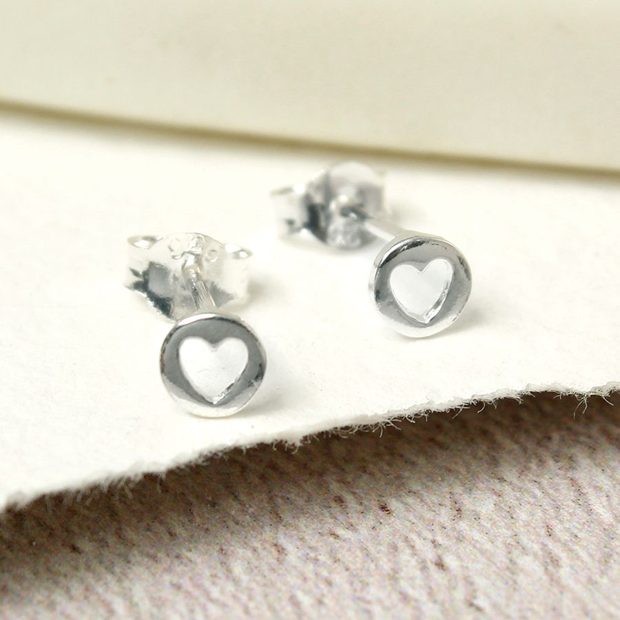 Tiny cut out heart earrings