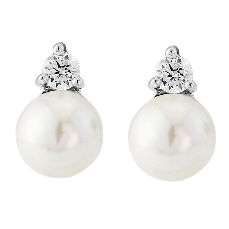 Pearl and crystal stud