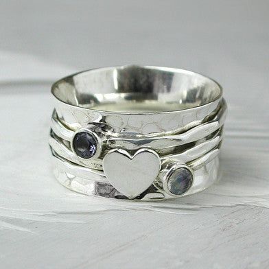 Moonstone Heart Spinning Ring