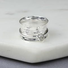 April Birthstone Spinning Ring Quartz