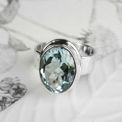 Large Silver Topaz Ring