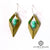 Geometric diamond turquiose, gold and sterling silver earrings