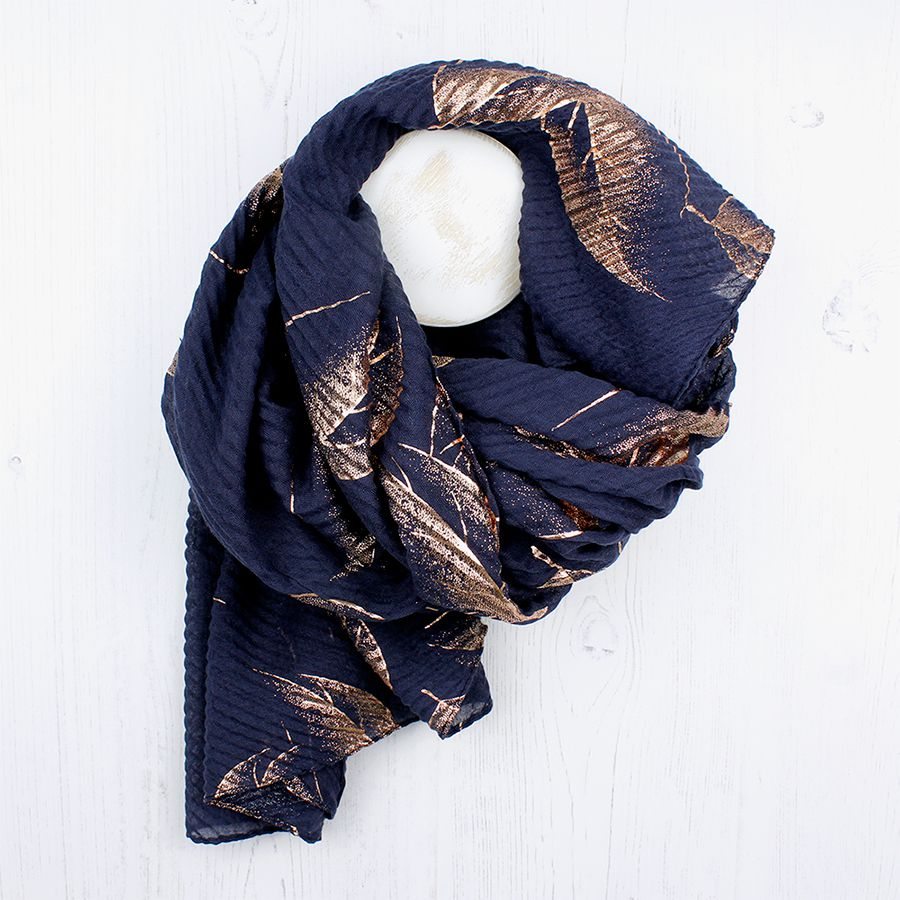 Navy and rose gold leaf print scarf