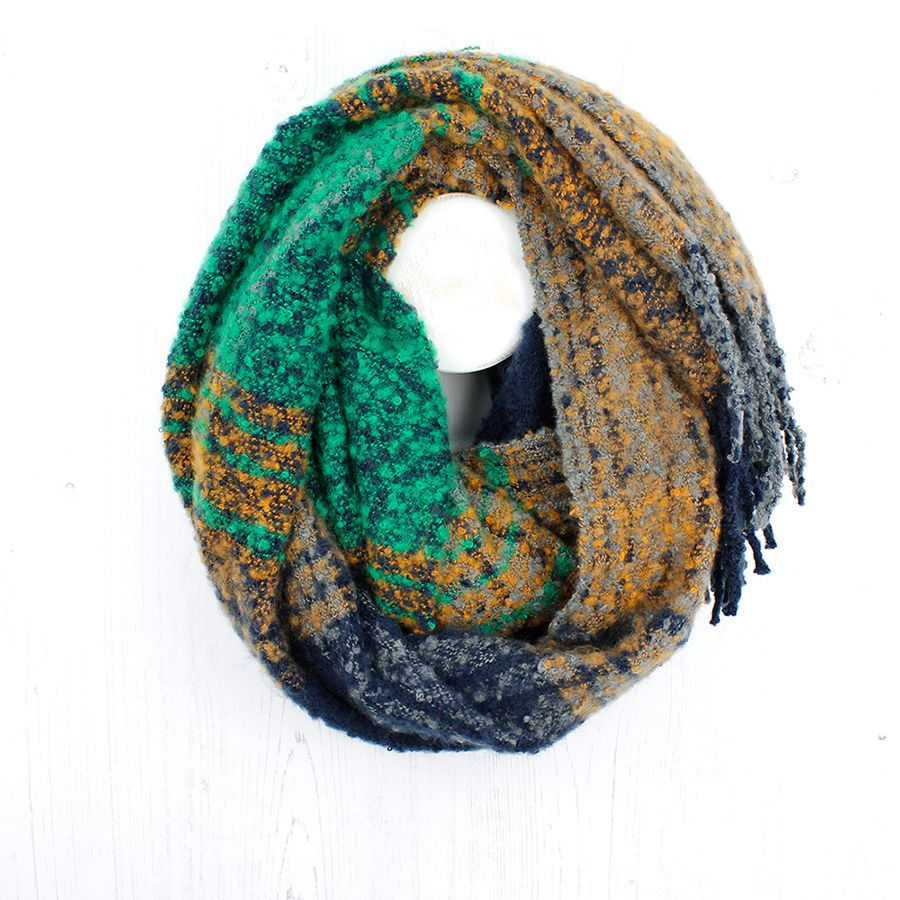 Green and ochre check knit scarf