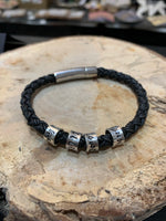 Men's leather name bracelet